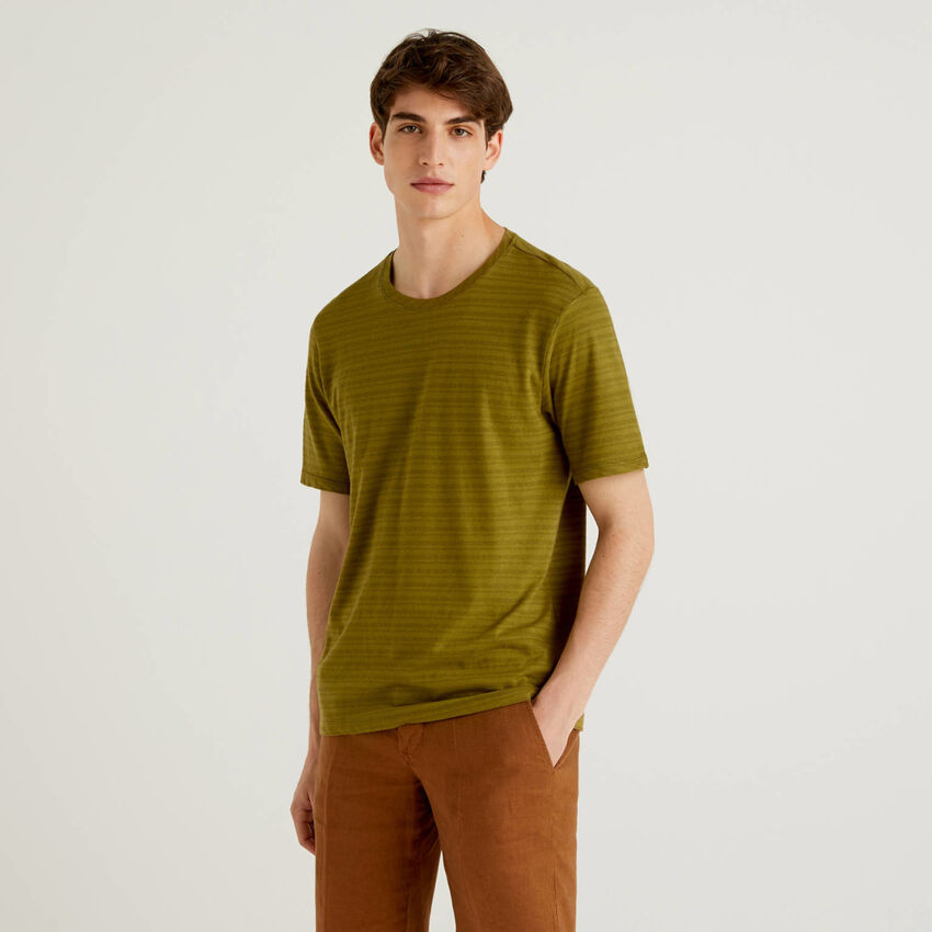 Camiseta de rayas de lino mixto
