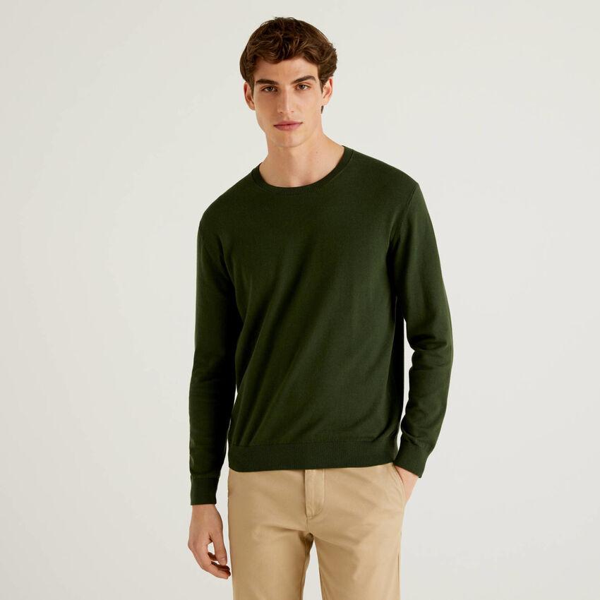 Jersey de cuello redondo de algodón mixto