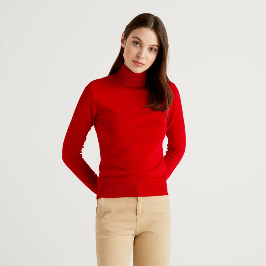 Jersey de cuello cisne rojo de pura lana virgen