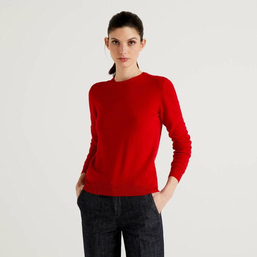 Jersey de cuello redondo de pura lana virgen