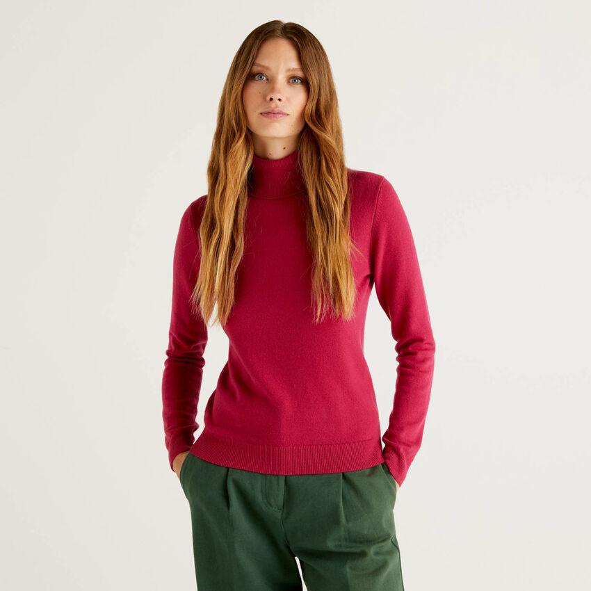 Jersey de cuello cisne color ciclamen de pura lana virgen
