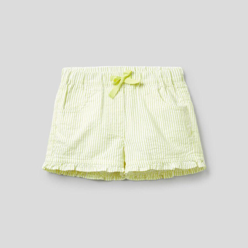 Pantalón corto de rayas amarillas de 100% algodón