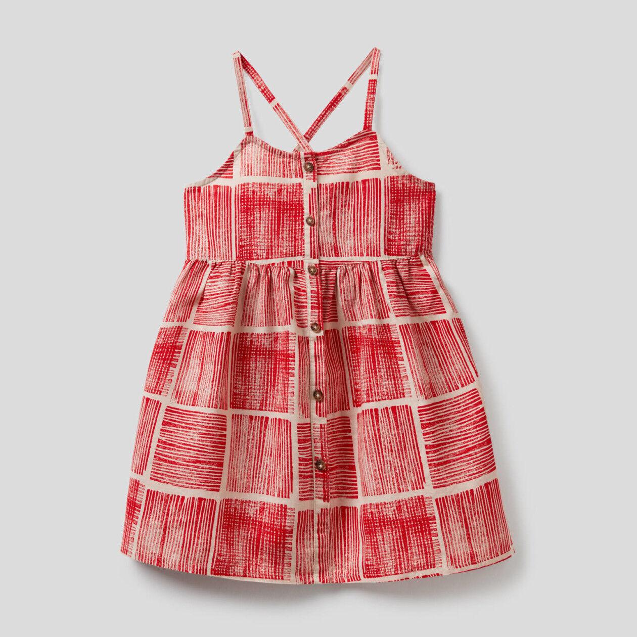 Vestido estampado en mezcla de algodón y lino