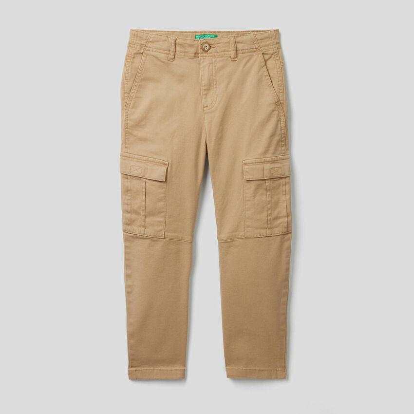 Pantalón cargo de algodón elástico