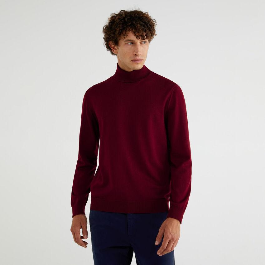 Jersey de cuello cisne de pura lana merina extrafina