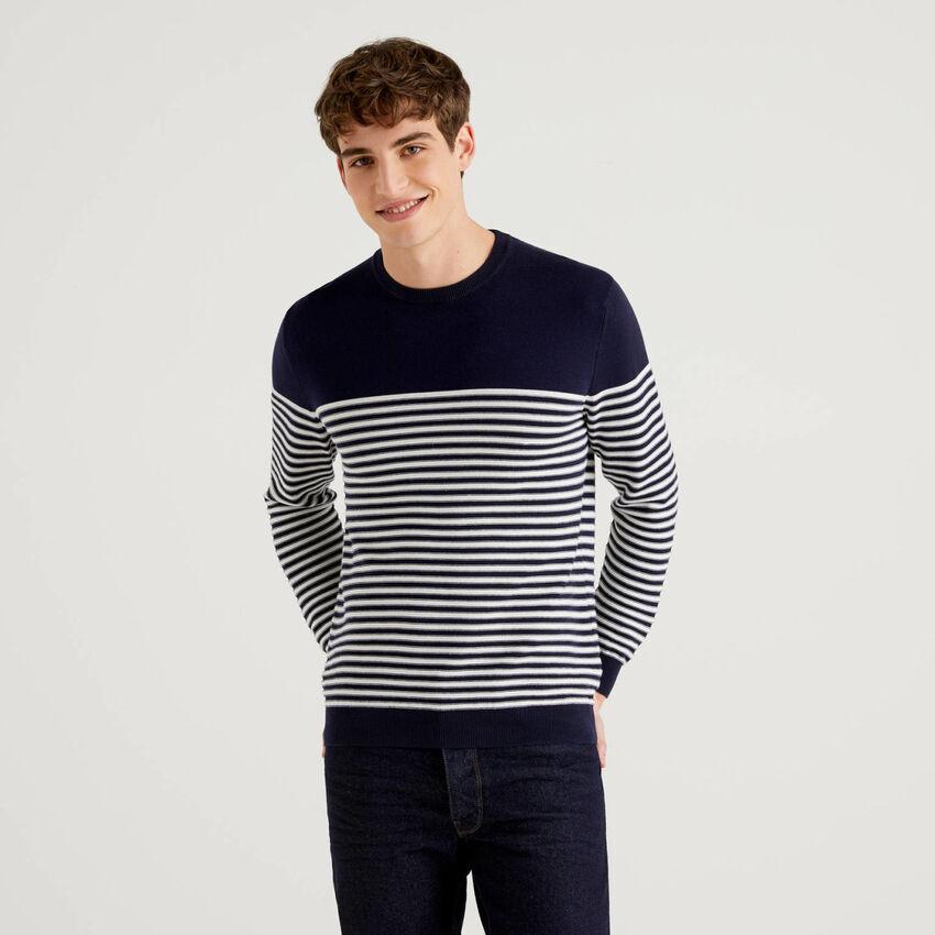 Jersey de rayas de 100 % algodón con cuello redondo