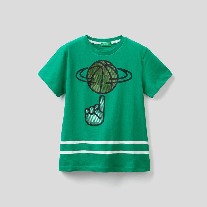 Camiseta de algodón con estampado 3D