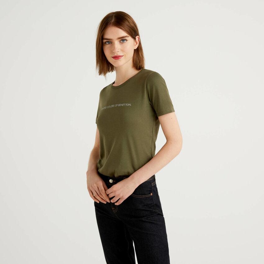 Camiseta de 100 % algodón con estampado de logotipo con glitter