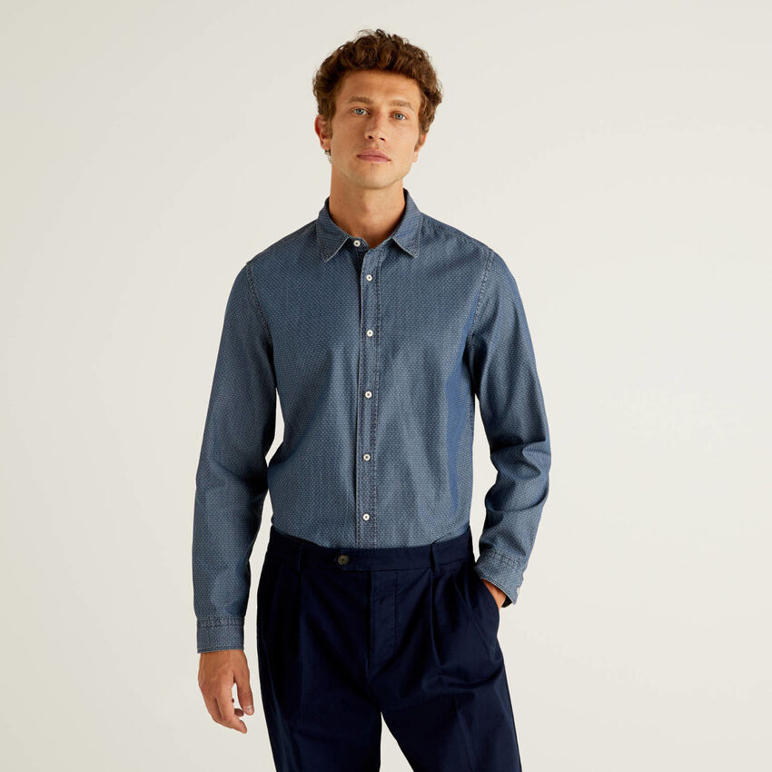 Camisa slim fit de 100 % algodón