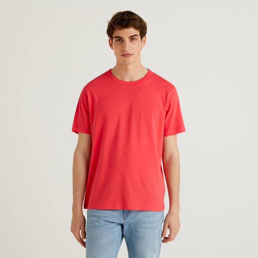 Camiseta roja de 100 % algodón con estampado