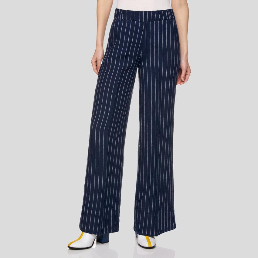 Pantalón de rayas de puro lino