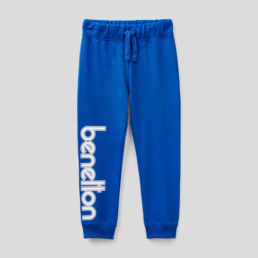 Pantalón de felpa de 100 % algodón con logotipo