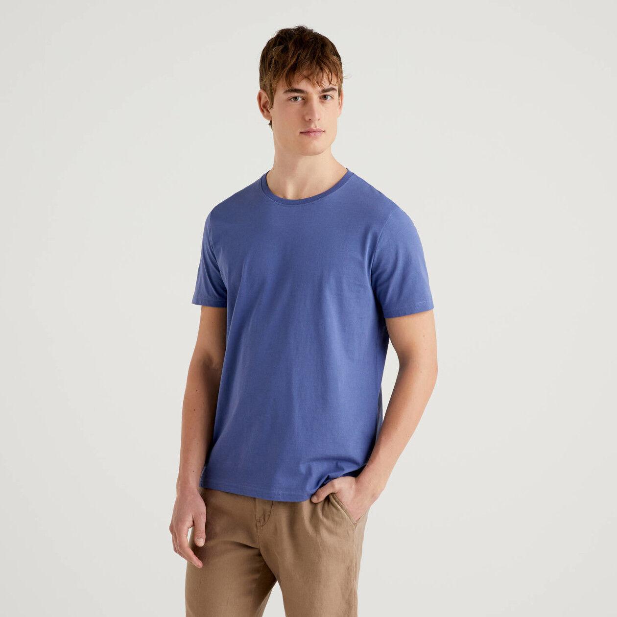 Camiseta azul de algodón puro