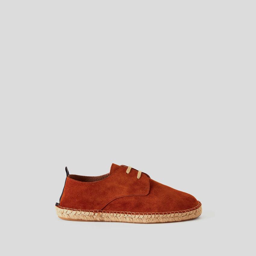 Zapatos derby de piel de ante auténtica