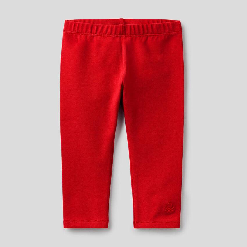 Leggings rojos de algodón elástico