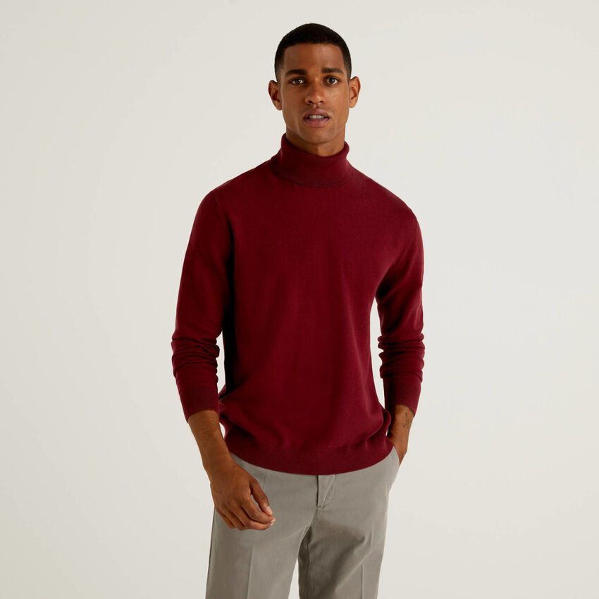 Jersey de cuello alto de algodón elástico mixto