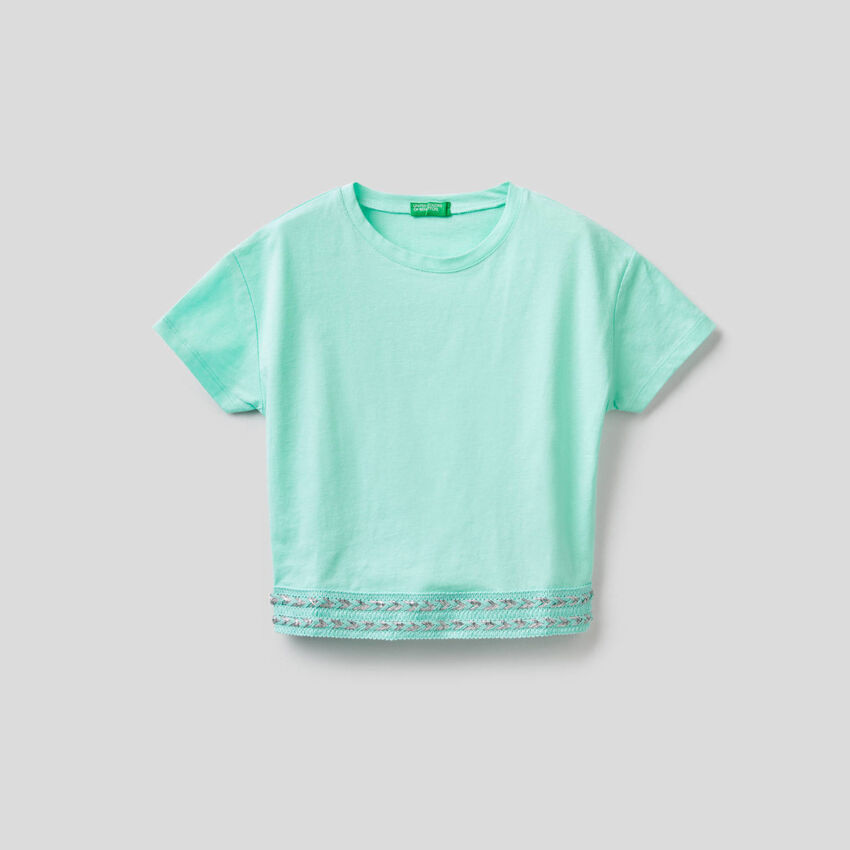 Camiseta de algodón de corte cropped