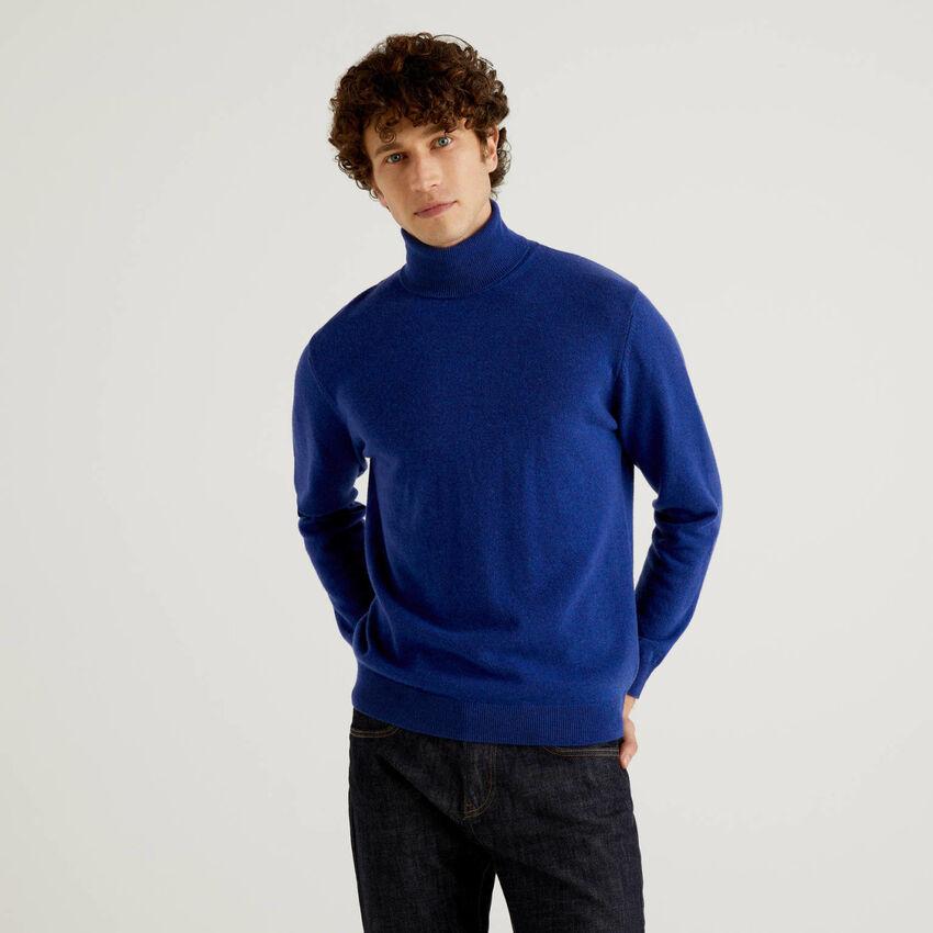 Jersey de cuello cisne azul de pura lana virgen
