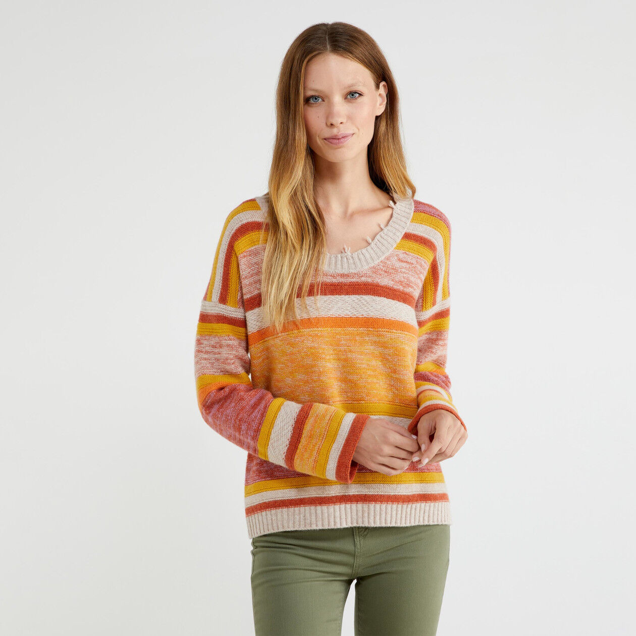 Suéter de jacquard de rayas