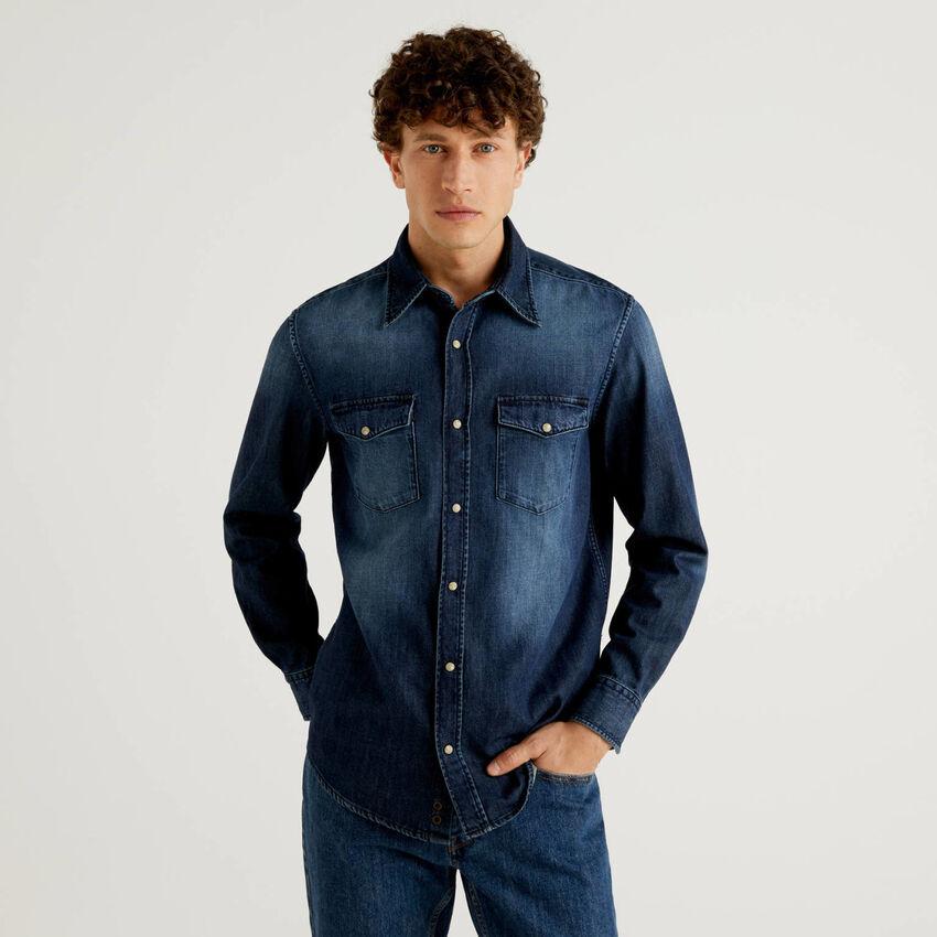 Camisa en denim de 100% algodón