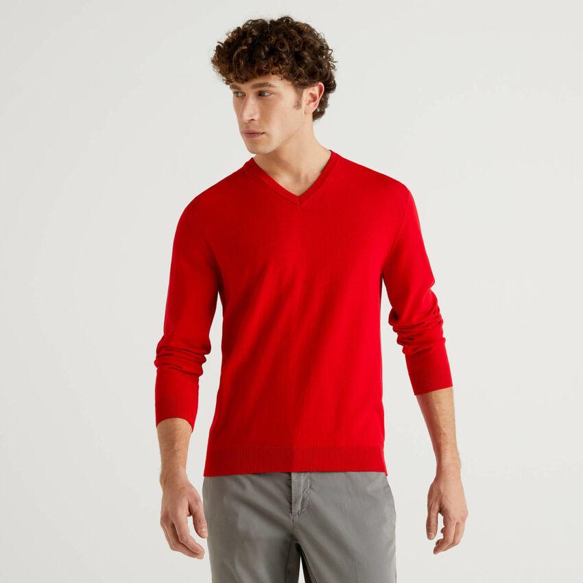 Jersey de algodón puro con escote de pico