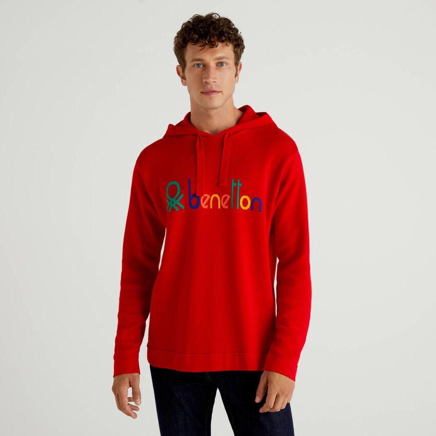 Jersey rojo de 100 % algodón con capucha