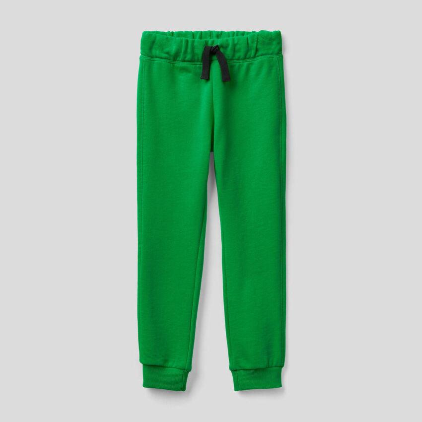 Pantalón verde de felpa de 100 % algodón