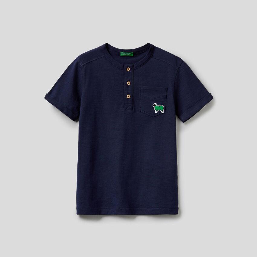 Camiseta de cuello tunecino de 100% algodón