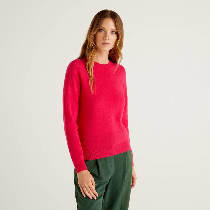 Jersey de cuello redondo fucsia de pura lana virgen