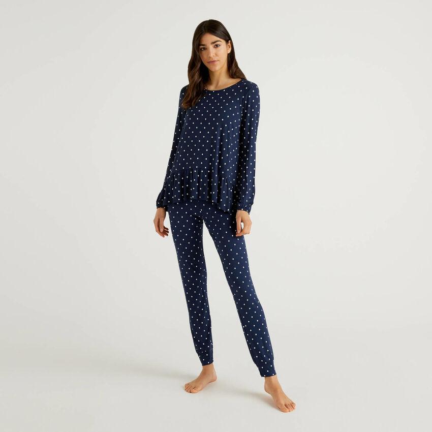 Pijama de viscosa elástica estampado