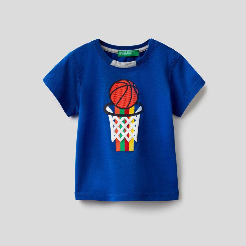 Camiseta de 100 % algodón con estampado multicolor