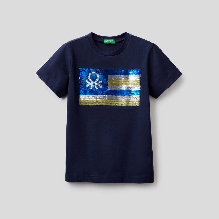 Camiseta de 100 % algodón con lentejuelas