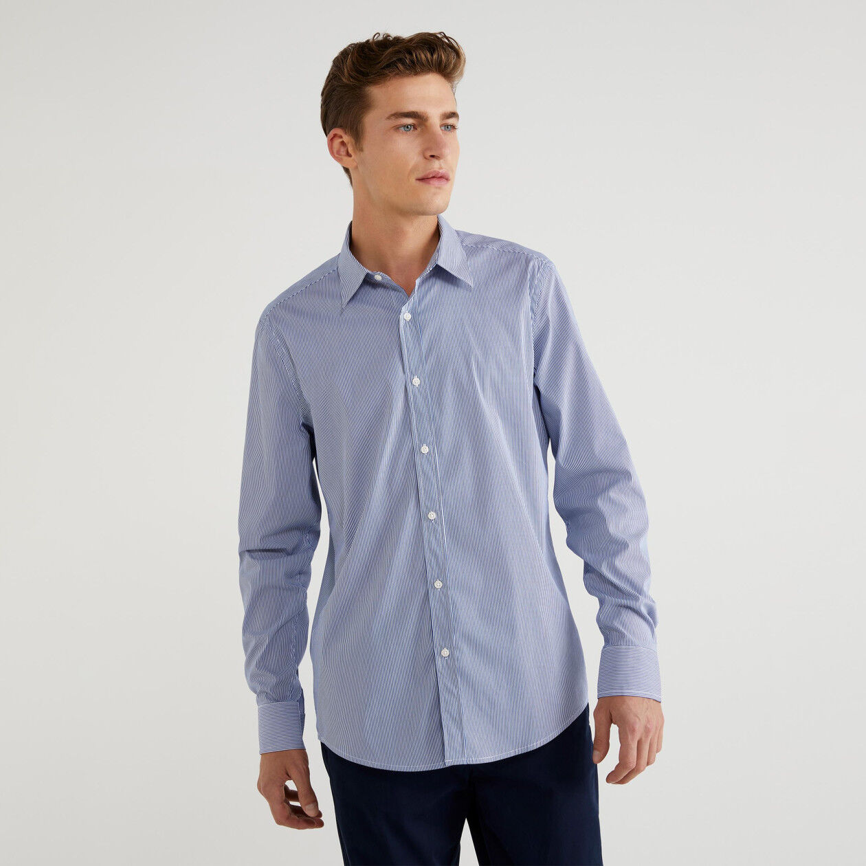 Camisa slim fit de rayas