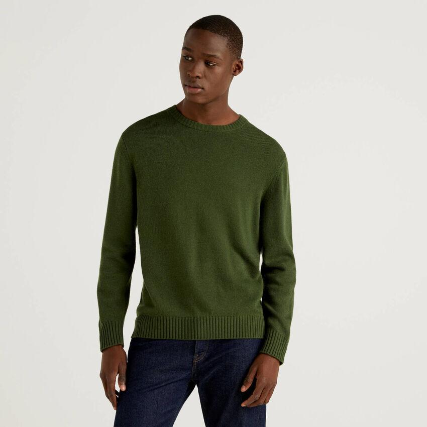 Jersey de cuello redondo en mezcla de lana y cachemir