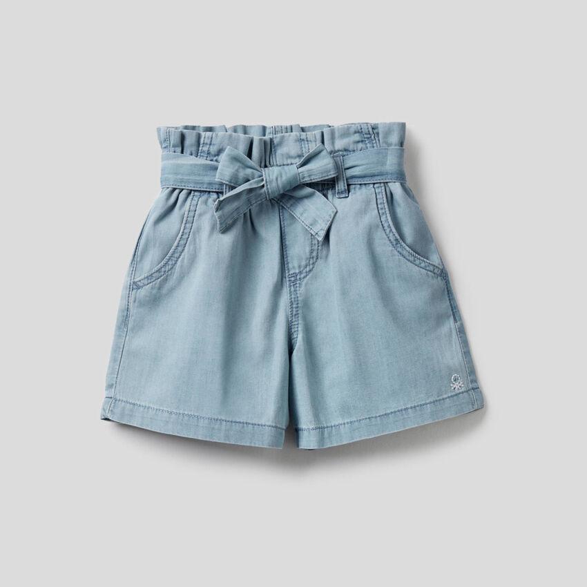 Pantalón corto de talle alto de 100% algodón