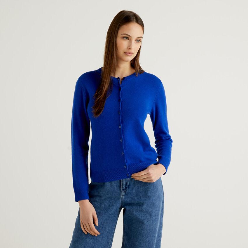 Cárdigan de cuello redondo azul de pura lana virgen