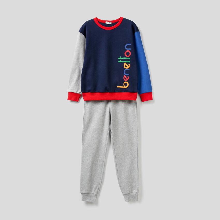 Pijama color block de algodón puro