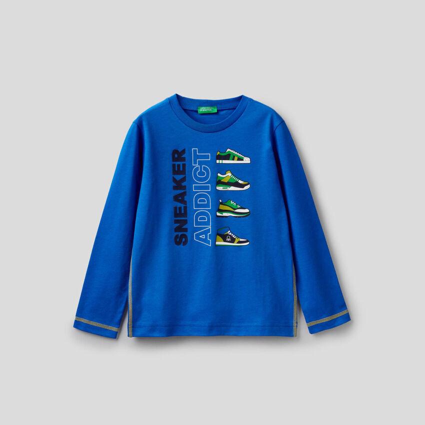 Camiseta azul de manga larga de 100 % algodón