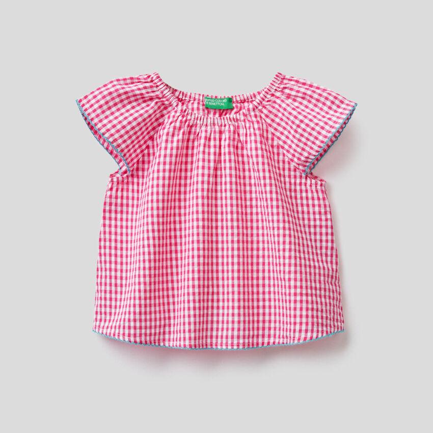 Blusa de 100% algodón con estampado de Vichy