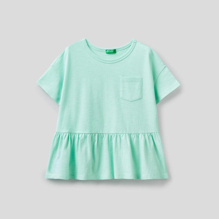 Camiseta de algodón puro con volante