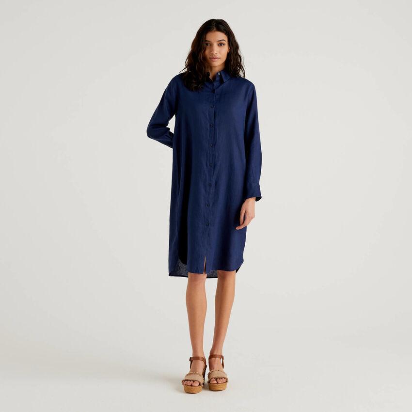 Vestido camisero de 100% lino