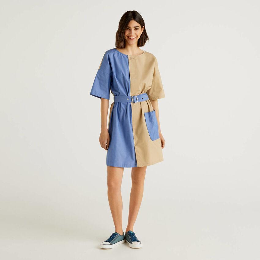 Vestido corto bicolor 100% algodón