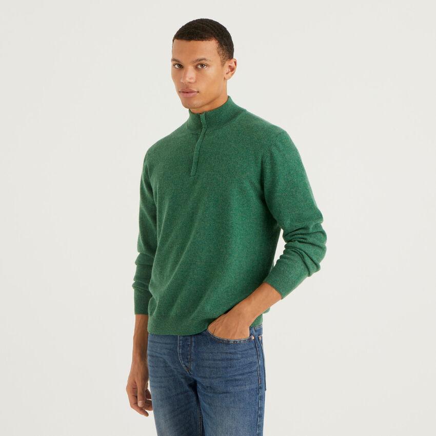 Jersey verde oscuro de 100 % lana virgen con cremallera