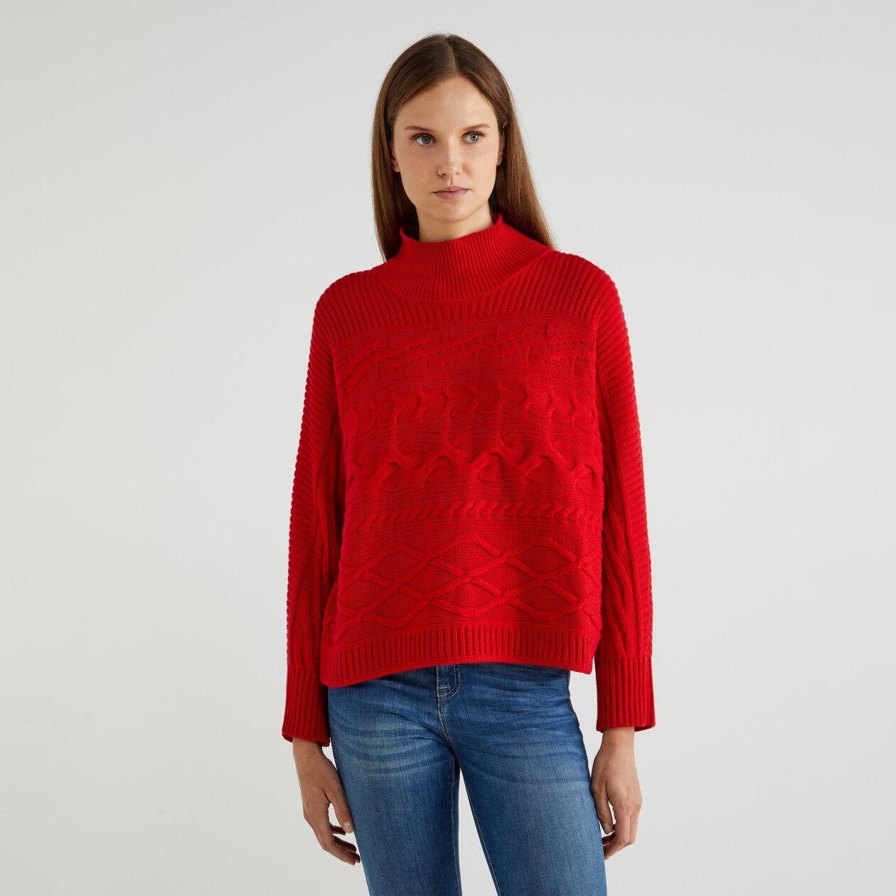 Jersey de cuello alto de lana y cachemir