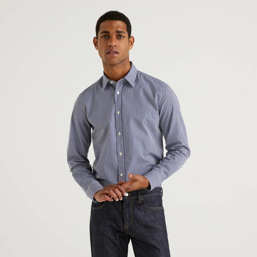 Camisa slim fit de algodón teñida en hilo