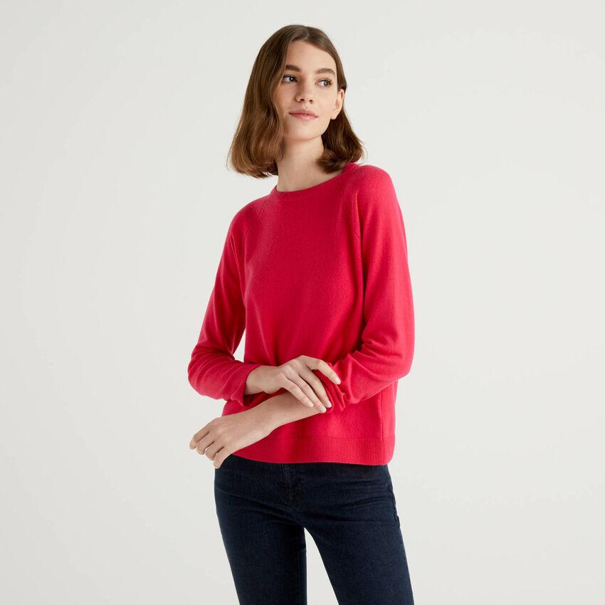 Jersey de cuello redondo fucsia en mezcla de lana y cachemir