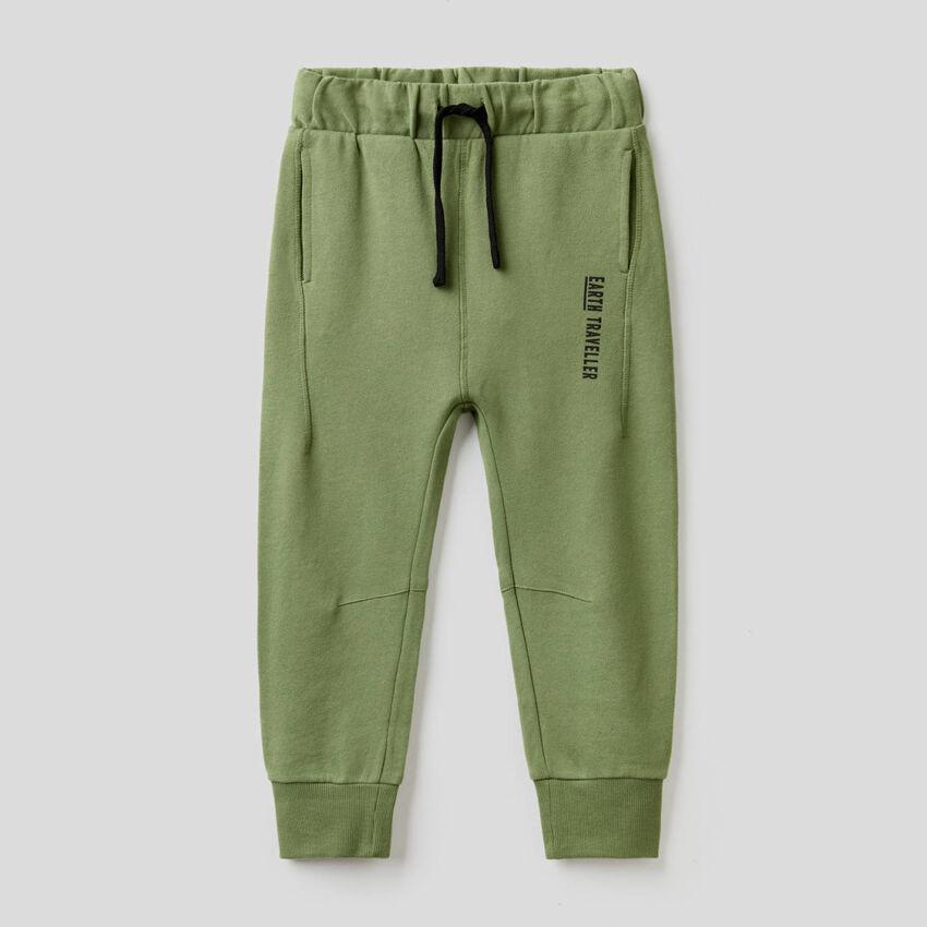 Pantalón verde militar de felpa de 100 % algodón