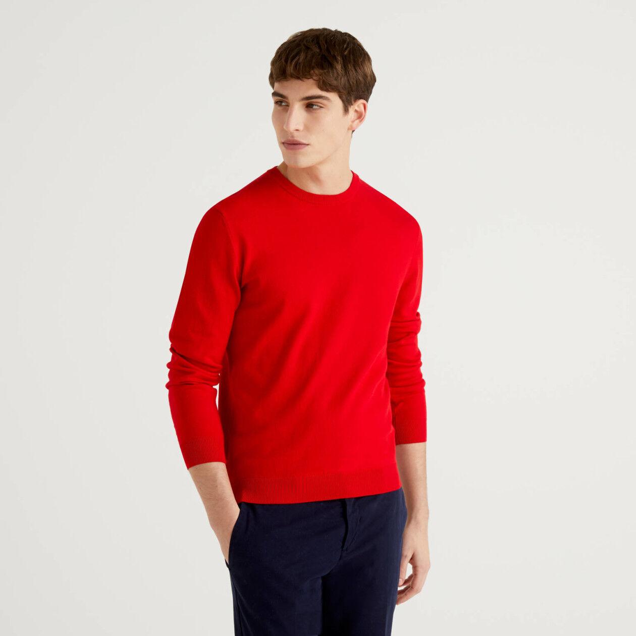 Jersey de cuello redondo de 100% algodón