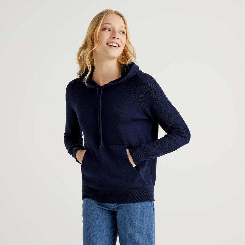 Jersey de punto tricot de algodón con capucha