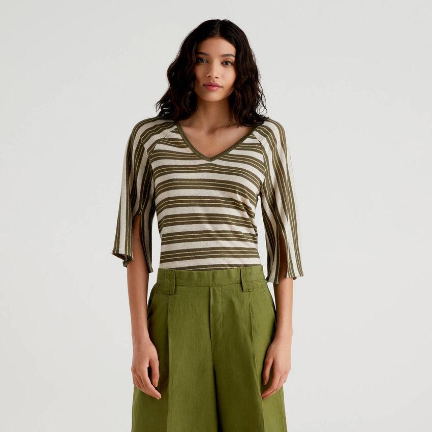 Camiseta de rayas con manga francesa